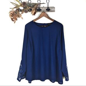 Eloquii Blue semi sheer blouse with lace sleeves